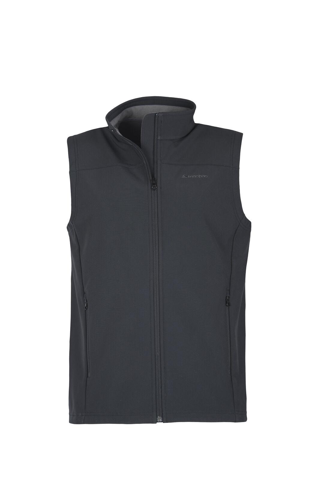 Macpac Sabre Softshell Vest — Men's, Black, hi-res