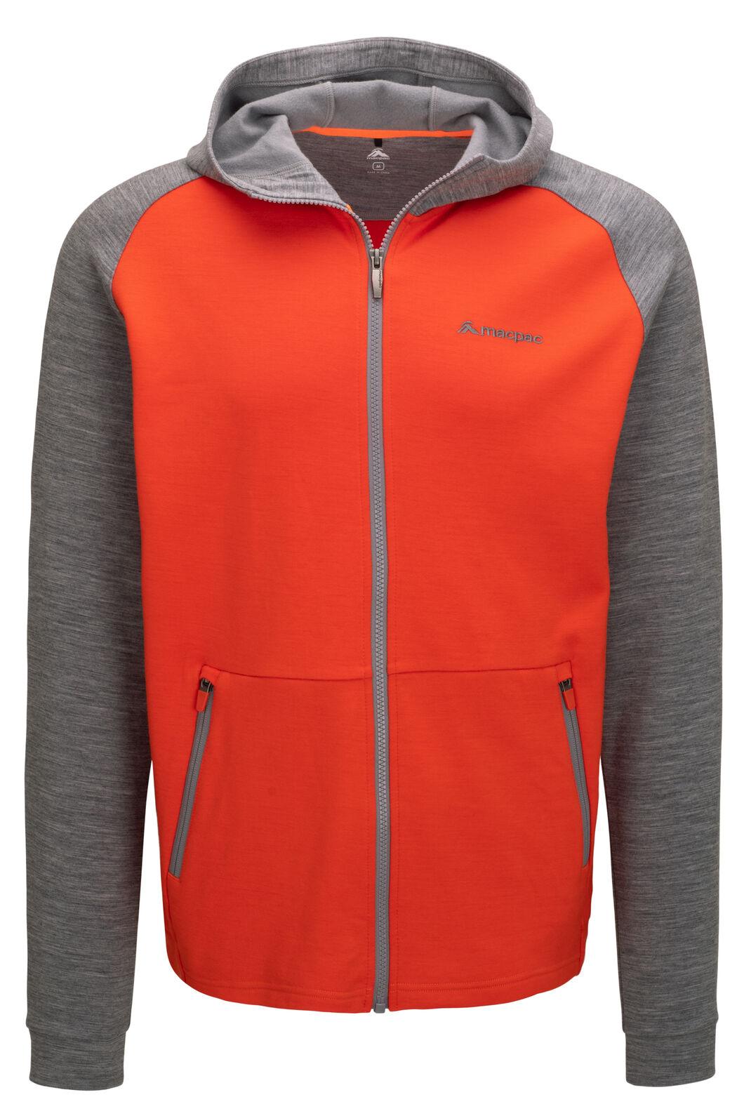 Macpac Men's Craigieburn 280 Merino Blend Hooded Jacket, Pureed Pumpkin, hi-res