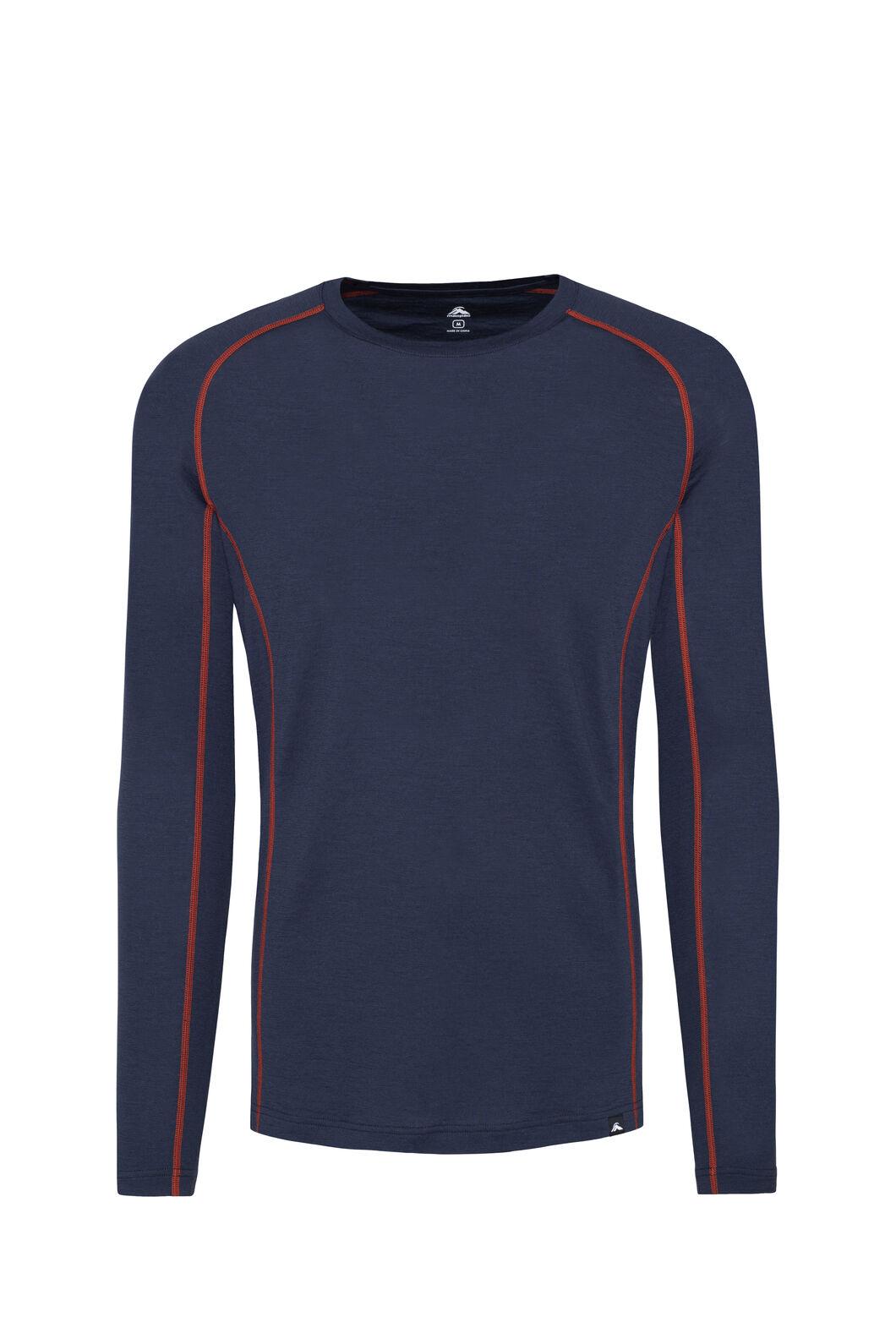 Macpac 150 Merino Long Sleeve Top — Men's, Black Iris/Rooibos Tea, hi-res