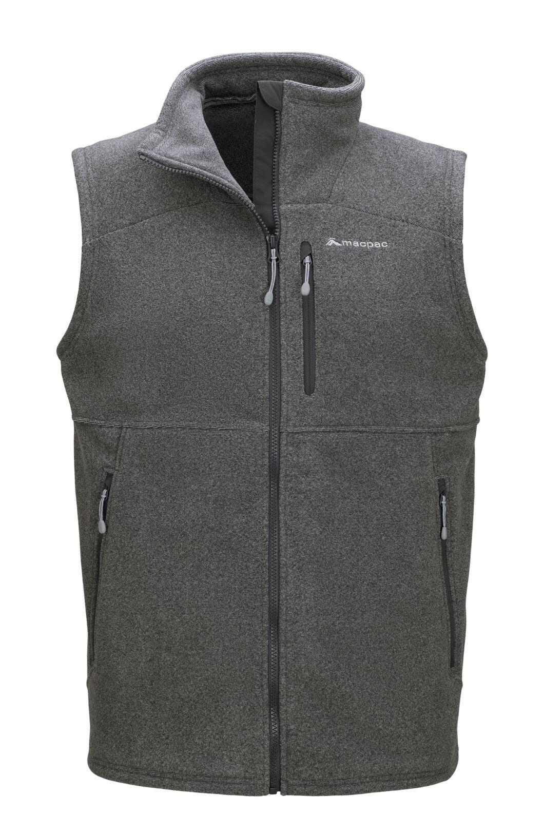 Macpac Men's Dunstan Fleece Vest, Monument/Asphalt, hi-res