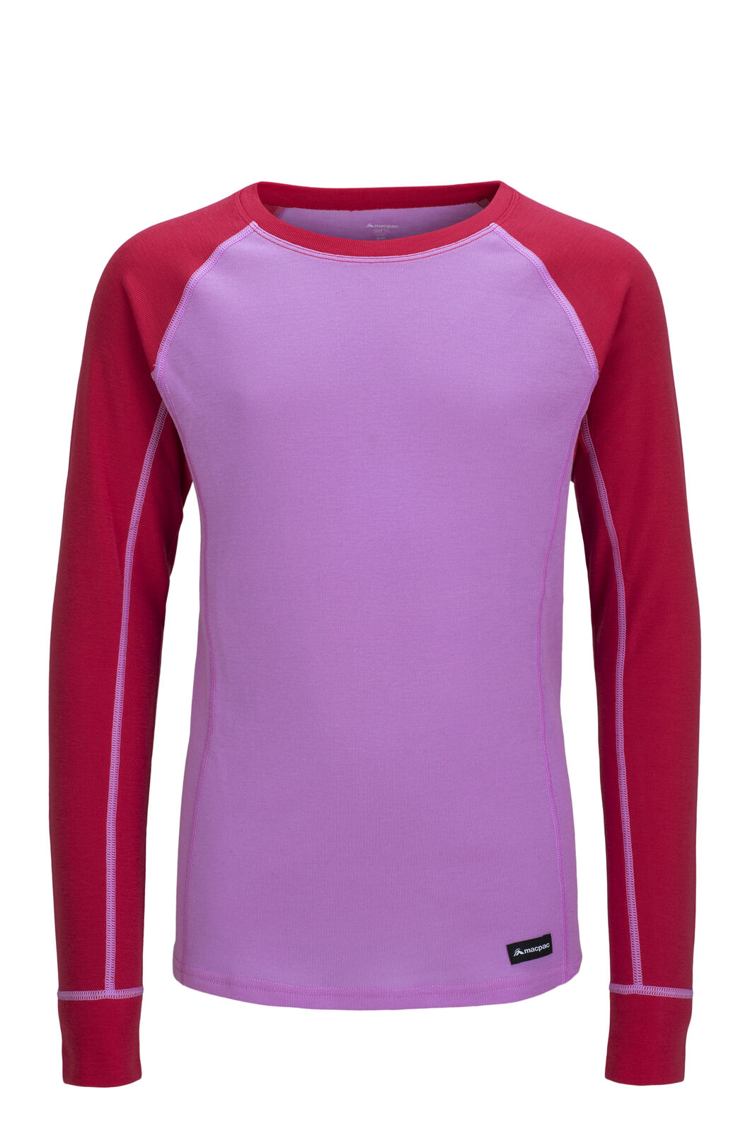 Macpac Geothermal Long Sleeve Top — Kids', Orchid/Raspberry Wine, hi-res