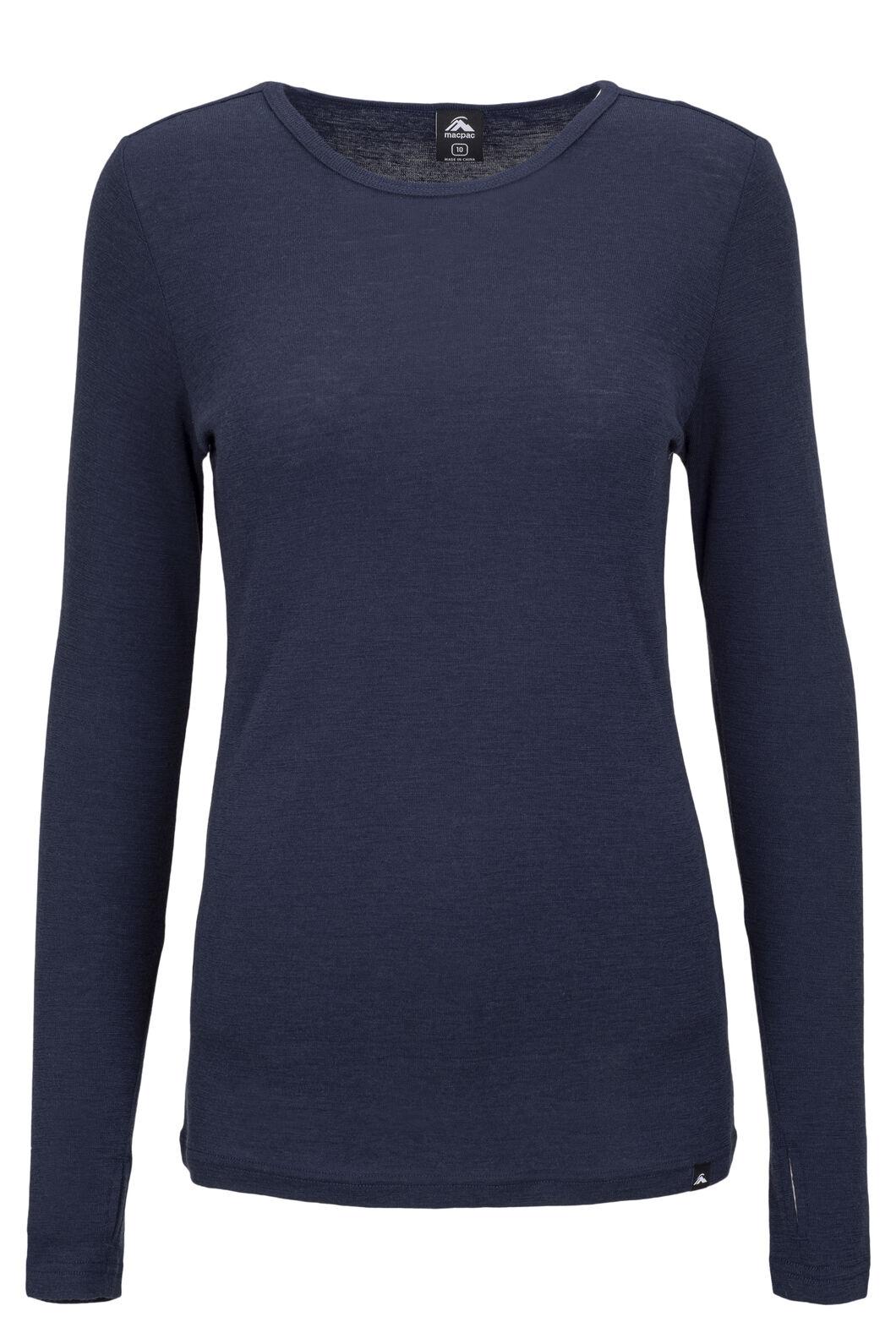 Macpac Women's 220 Merino Long Sleeve Top, Black Iris, hi-res