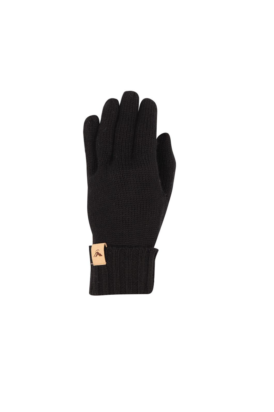 Macpac Merino Knit Gloves V2, Black, hi-res