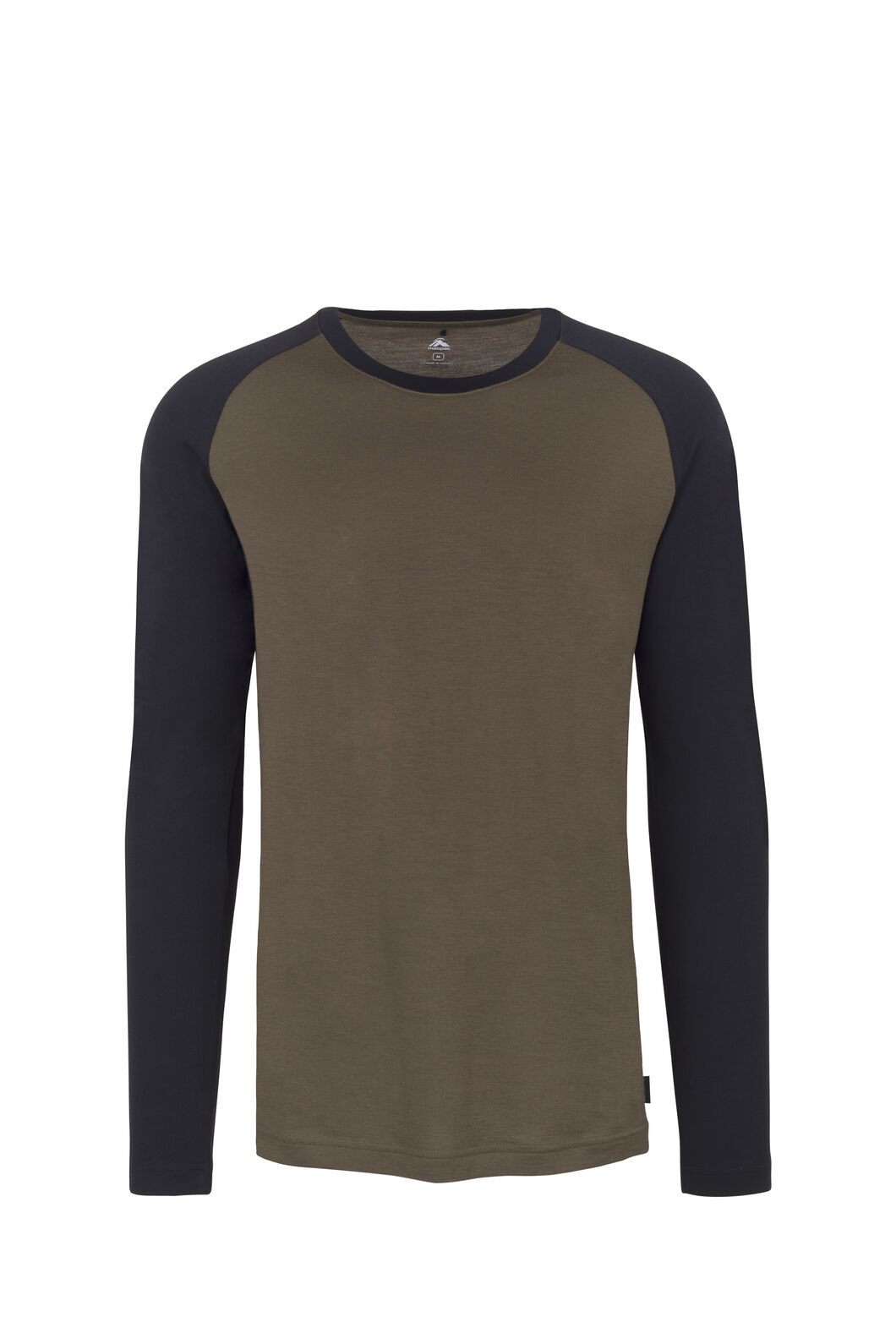 Macpac 180 Merino Long Sleeve Crew - Men's, Black/Military Olive, hi-res