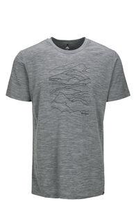 Macpac Landscape Graphic 180 Merino Tee — Men's, Grey Marle, hi-res