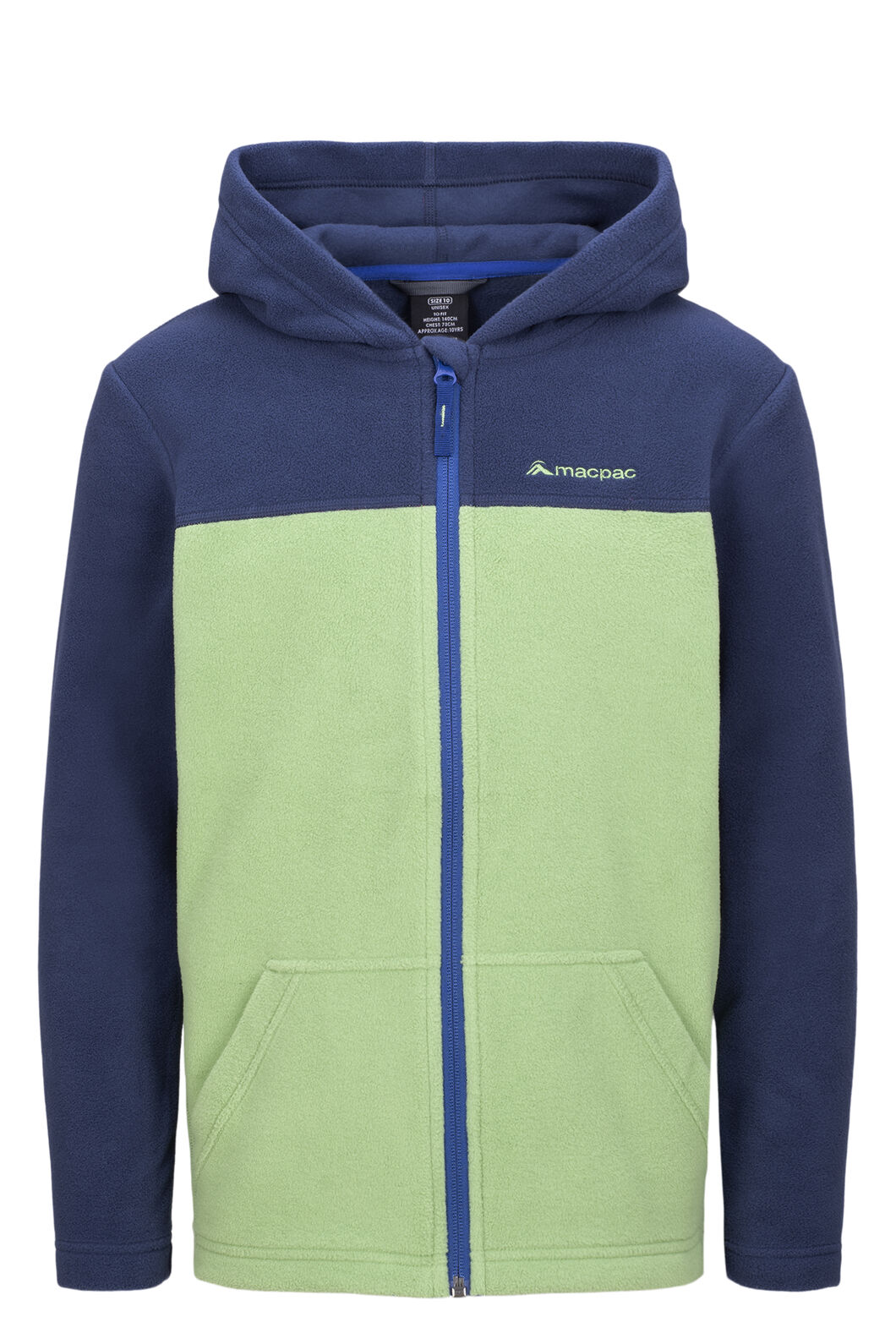 Macpac Tui Polartec® Fleece Jacket — Kids', Black Iris/Jade Green, hi-res