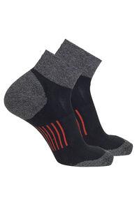 Macpac COOLMAX® Run Quarter Socks — 2 Pack, Black/Pureed Pumpkin, hi-res
