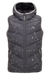 Macpac Stargazer Hooded Down Vest — Kids', Black Print, hi-res