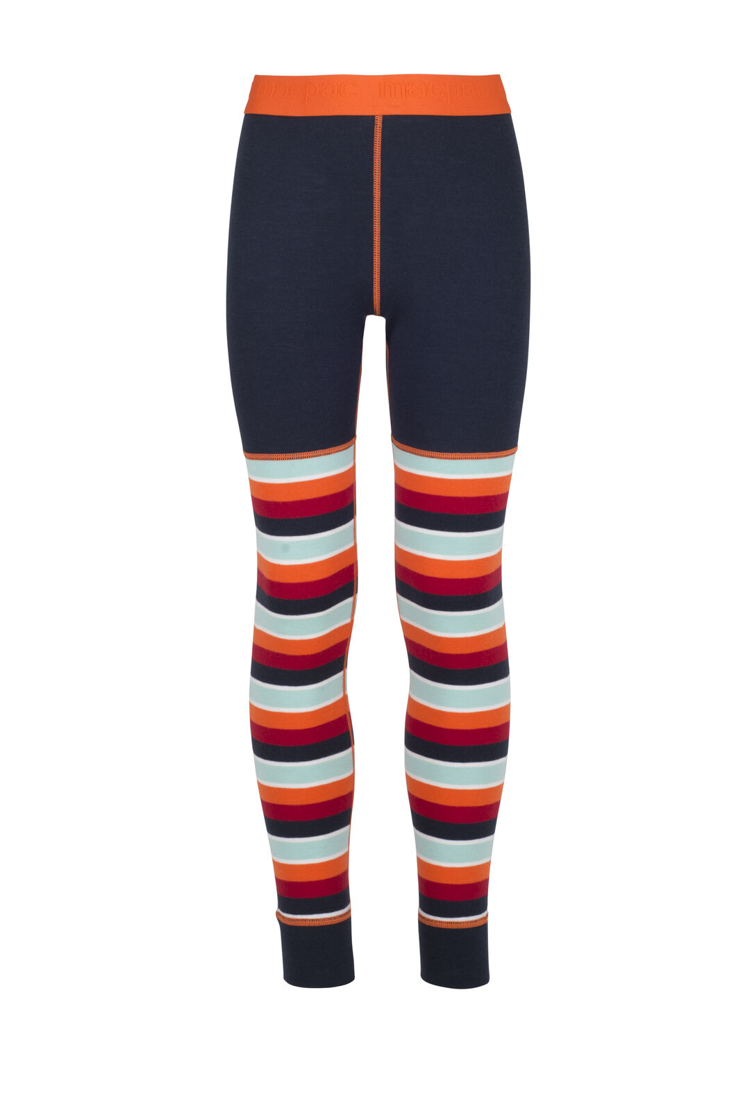 Macpac 220 Merino Long Johns - Kids', Orange Stripe, hi-res