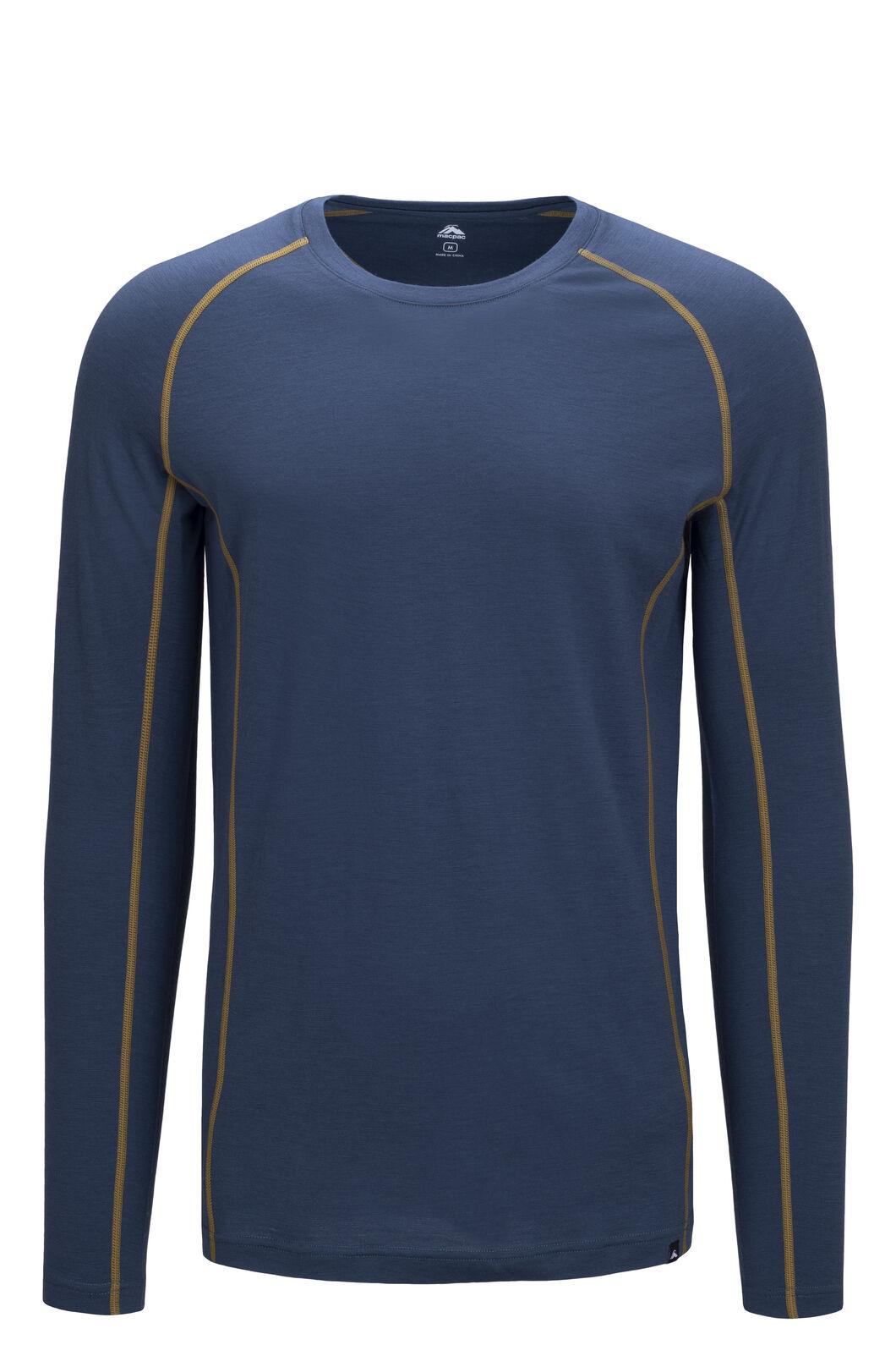 Macpac Men's 150 Merino Long Sleeve Top, Orion Blue/Dried Tussock, hi-res