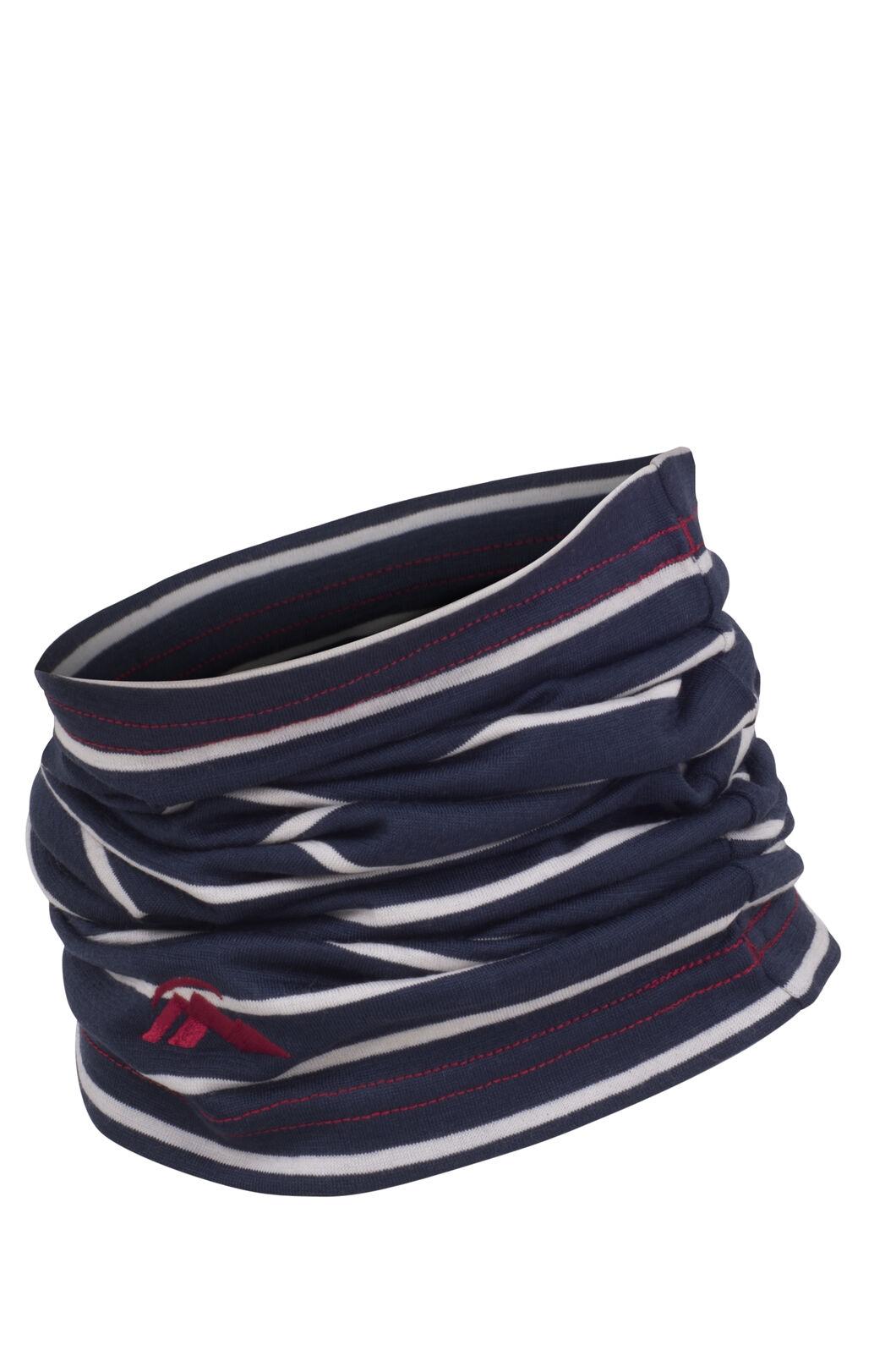 Macpac Merino 150 Neck Gaiter, Black Iris Stripe, hi-res