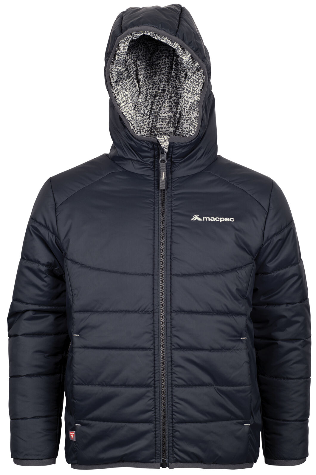 Macpac Pulsar Hooded Primaloft® SILVER Jacket - Kids', Black Iris/Barbados, hi-res