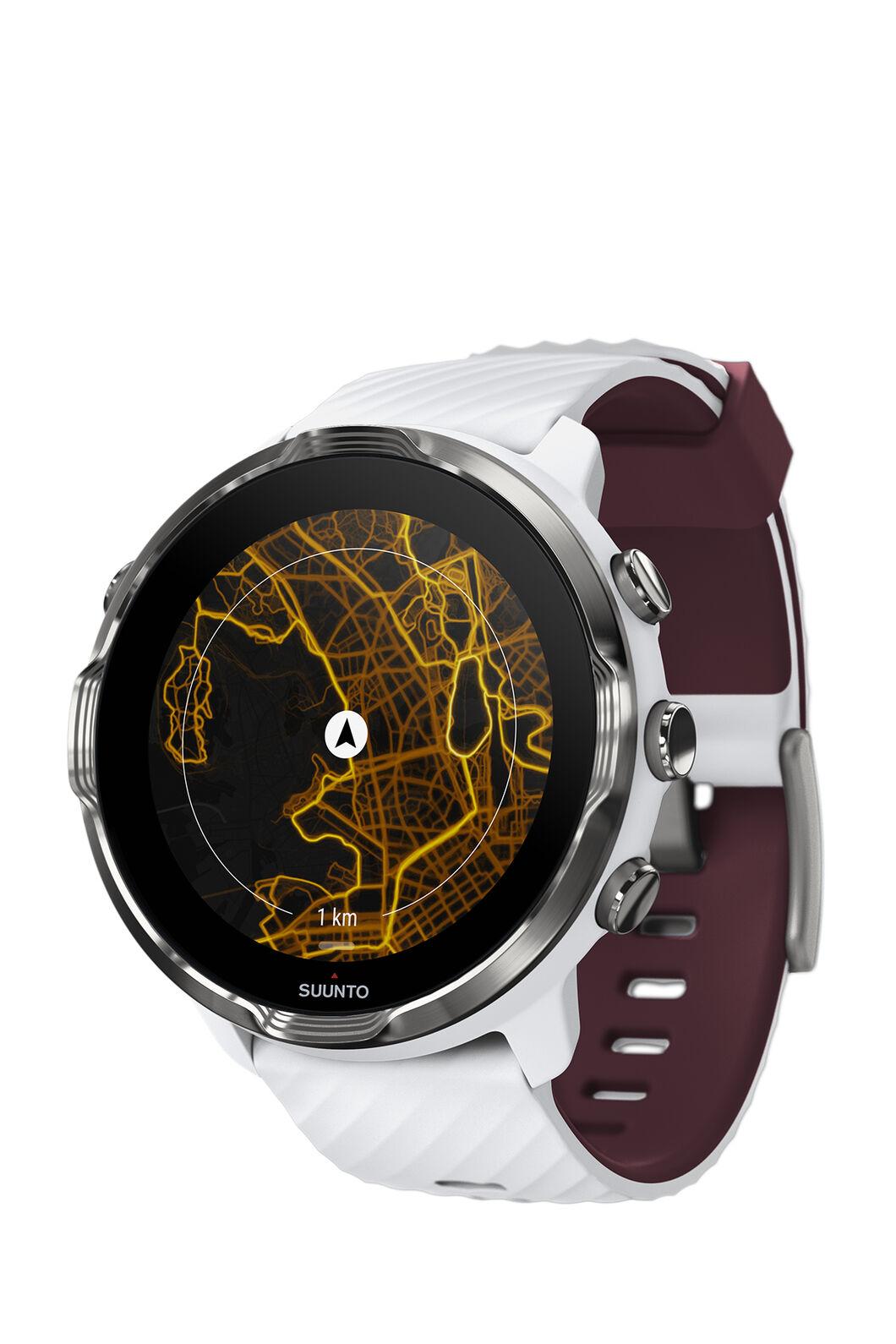 Suunto 7 GPS Sports Watch, White/Burgundy, hi-res