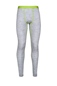 Macpac 180 Merino Long Johns — Men's, Light Grey Marle/Macaw Green, hi-res