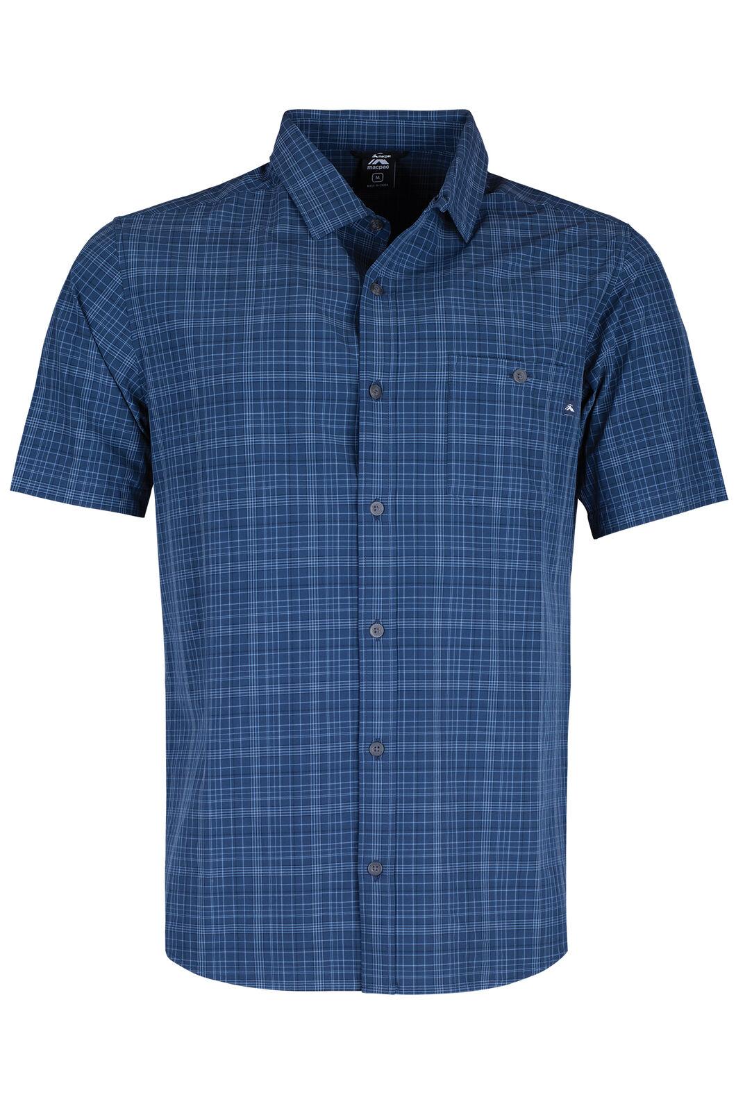 Macpac Travel Lite Short Sleeve Shirt - Men's, Black Iris Check, hi-res