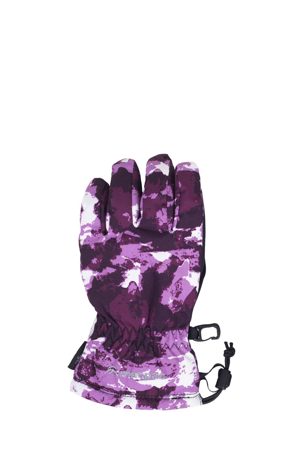 Macpac Spree Ski Gloves, Purple Print, hi-res