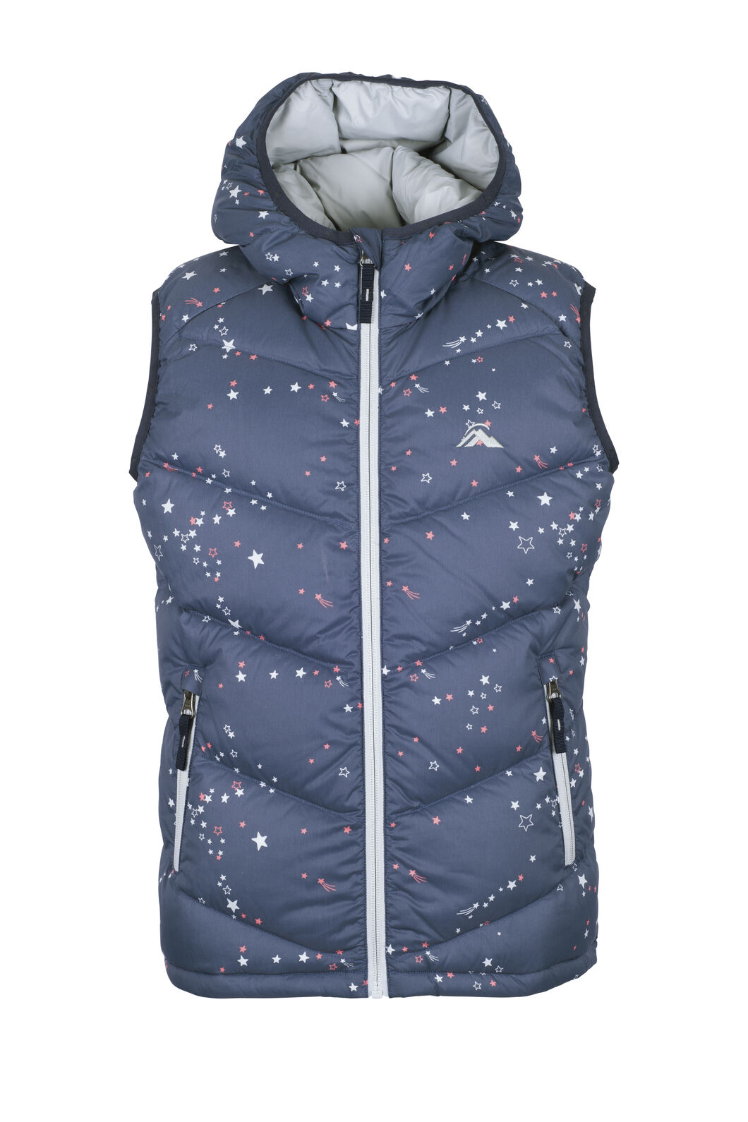 Macpac Stargazer Hooded Down Vest — Kids', Black Iris Print, hi-res
