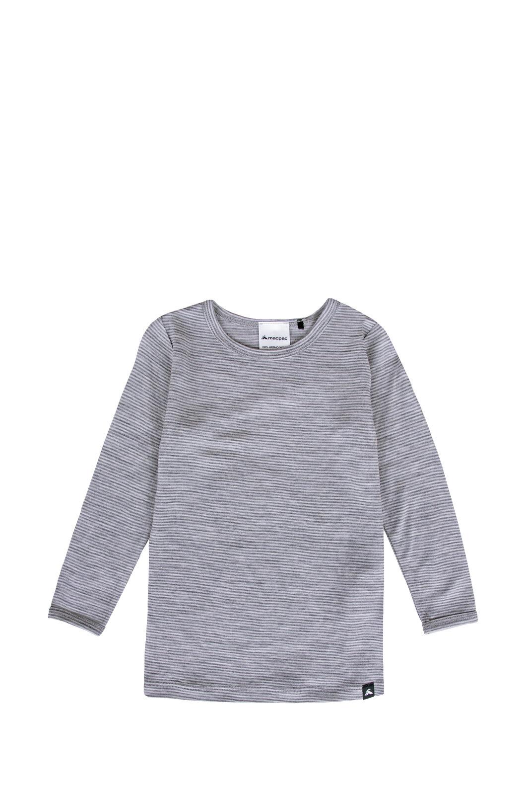 Macpac 150 Merino Long Sleeve Top — Baby, Light Grey Stripe, hi-res