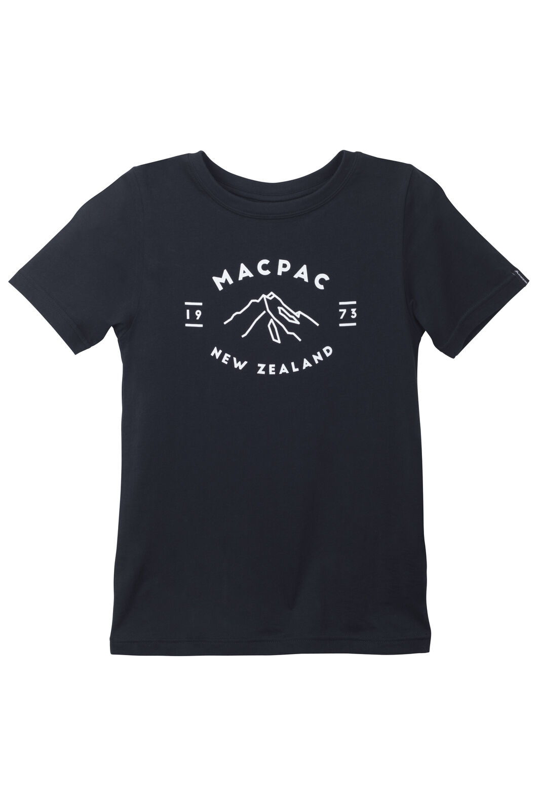 Mountain Print Organic Cotton Tee - Kids', Black, hi-res