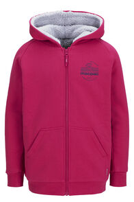 Macpac Organic Cotton Blend Shearling Hoody — Kids', Raspberry Wine, hi-res