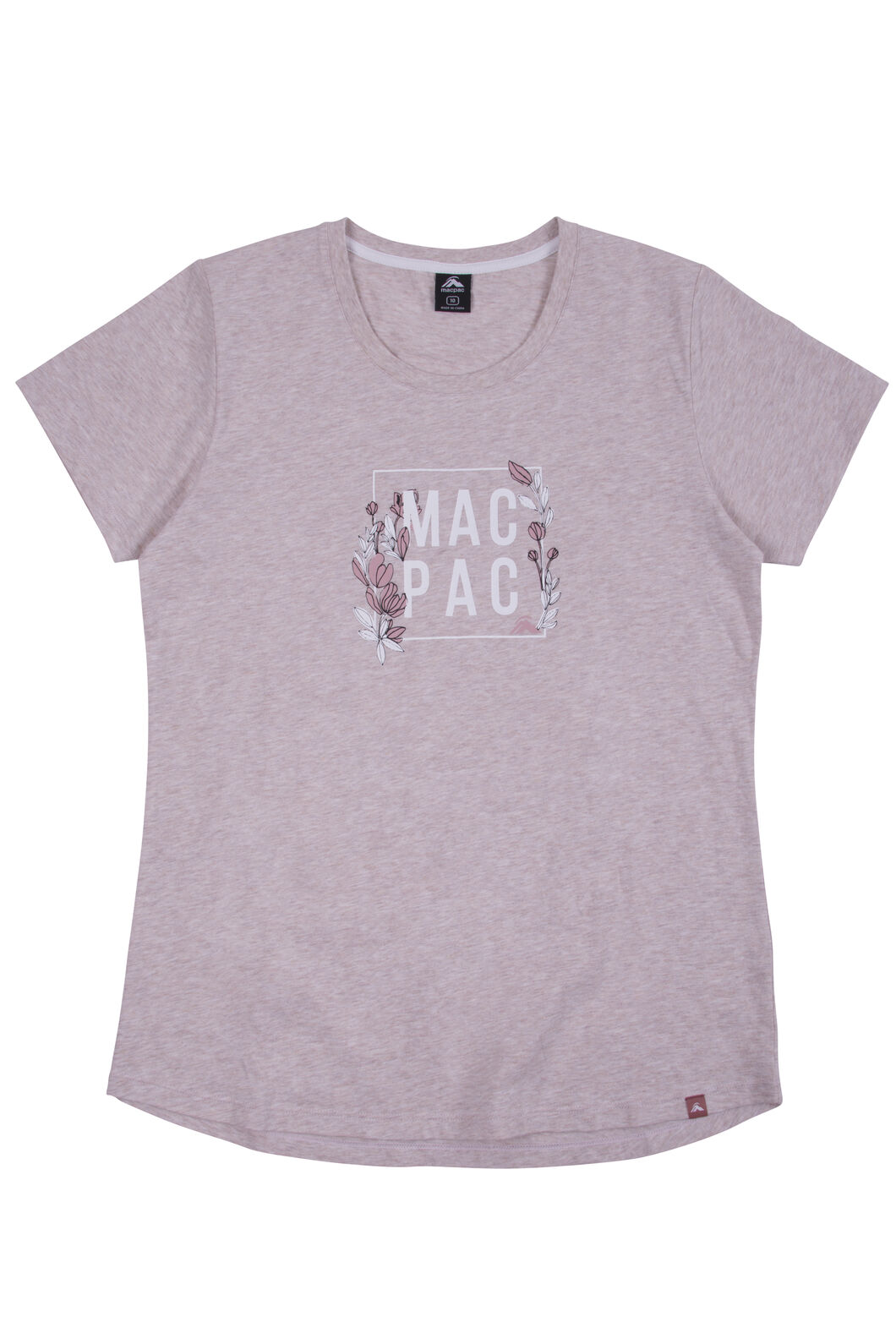 Macpac Cubed Organic Cotton Tee - Women's, Misty Rose Melange, hi-res