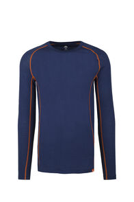 Macpac 150 Merino Long Sleeve Top — Men's, Blue Depths/Burnt Orange, hi-res