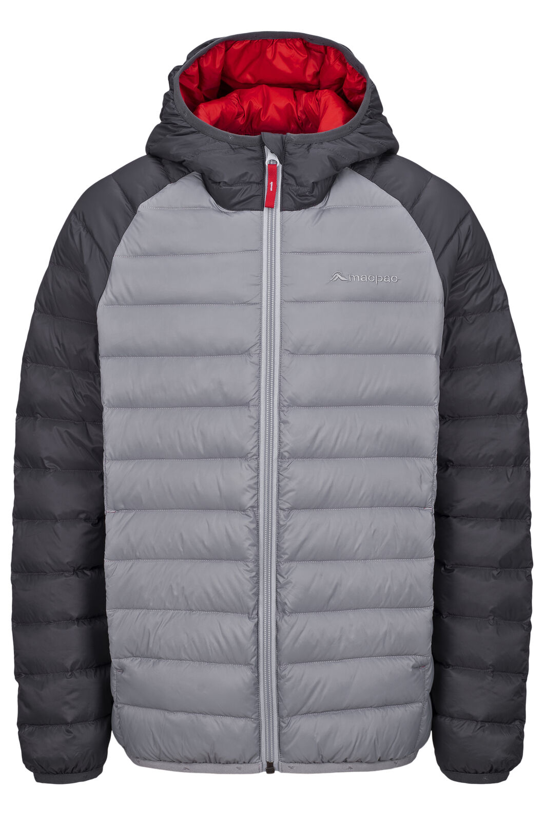 Macpac Uber Light Hooded Down Jacket — Kids', Asphalt/Monument, hi-res