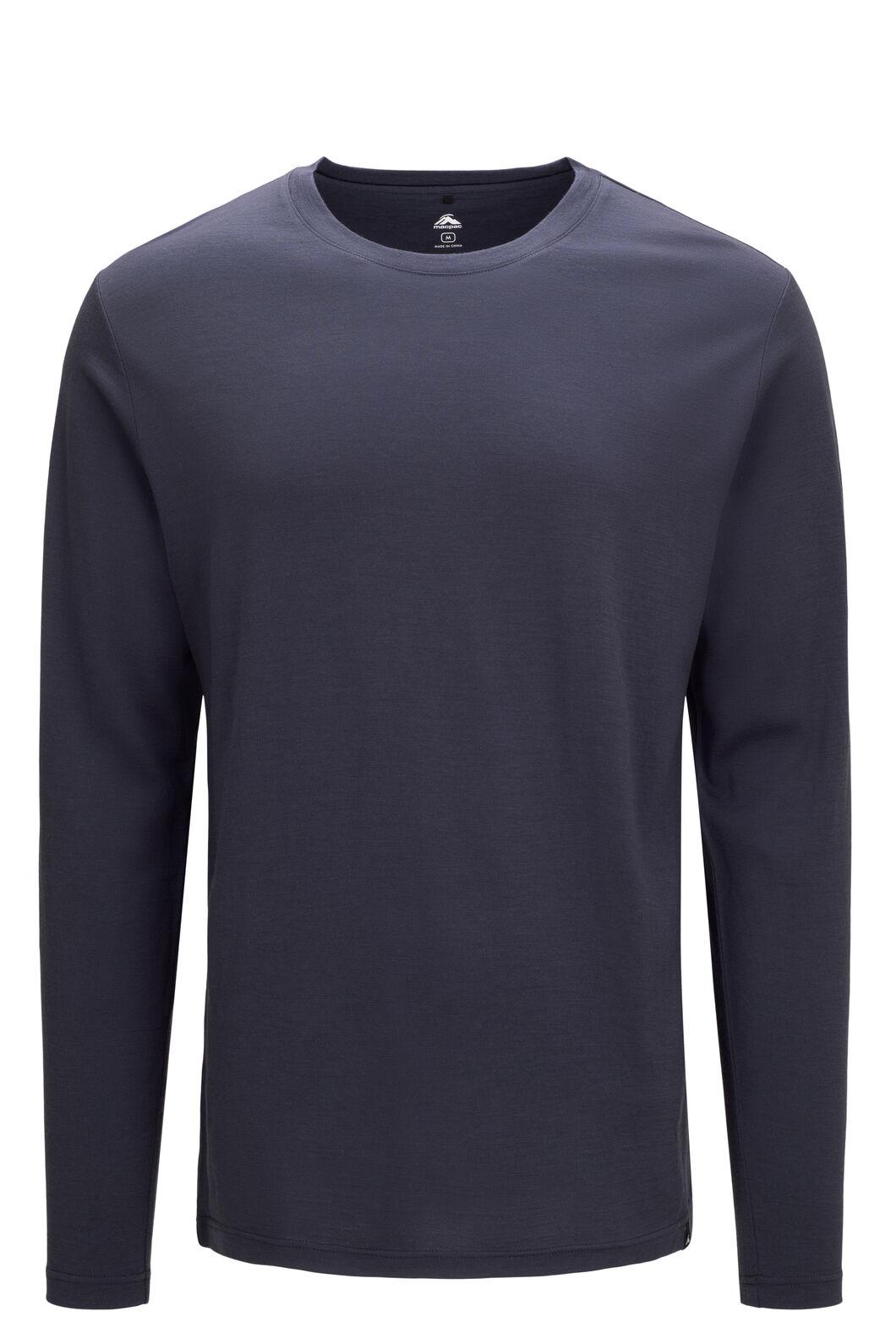 Macpac Men's Lyell 180 Merino Long Sleeve Tee, BLUE NIGHTS, hi-res