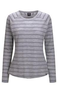 Macpac Women's Ella Long Sleeve Merino Tee, Light Grey Stripe, hi-res
