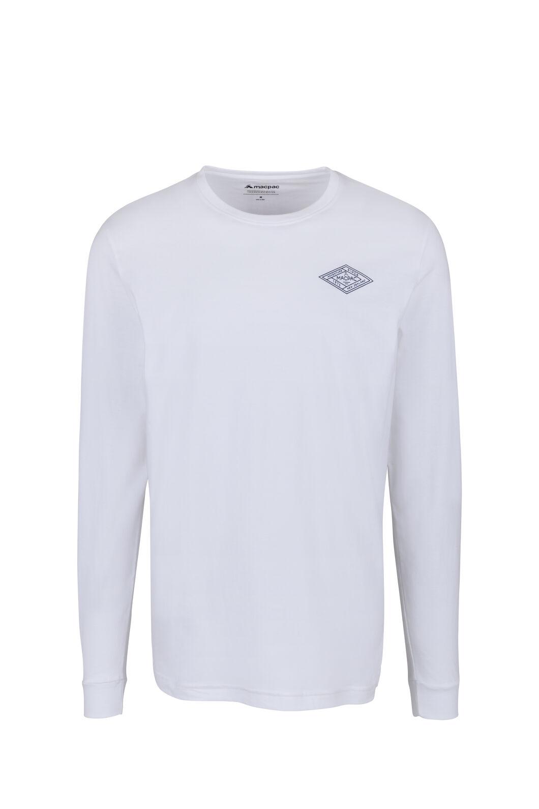 Macpac Diamond Fairtrade Organic Cotton Long Sleeve Tee — Men's, White, hi-res