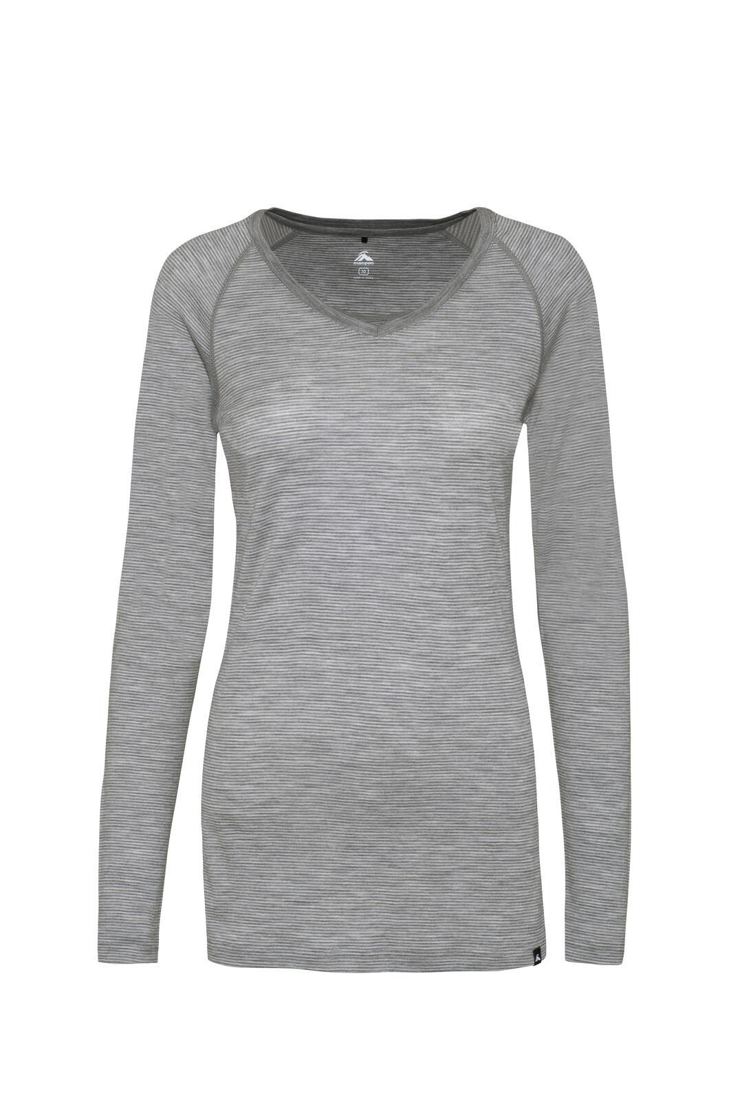 Macpac 150 Merino V-Neck Top — Women's, Light Grey Stripe, hi-res