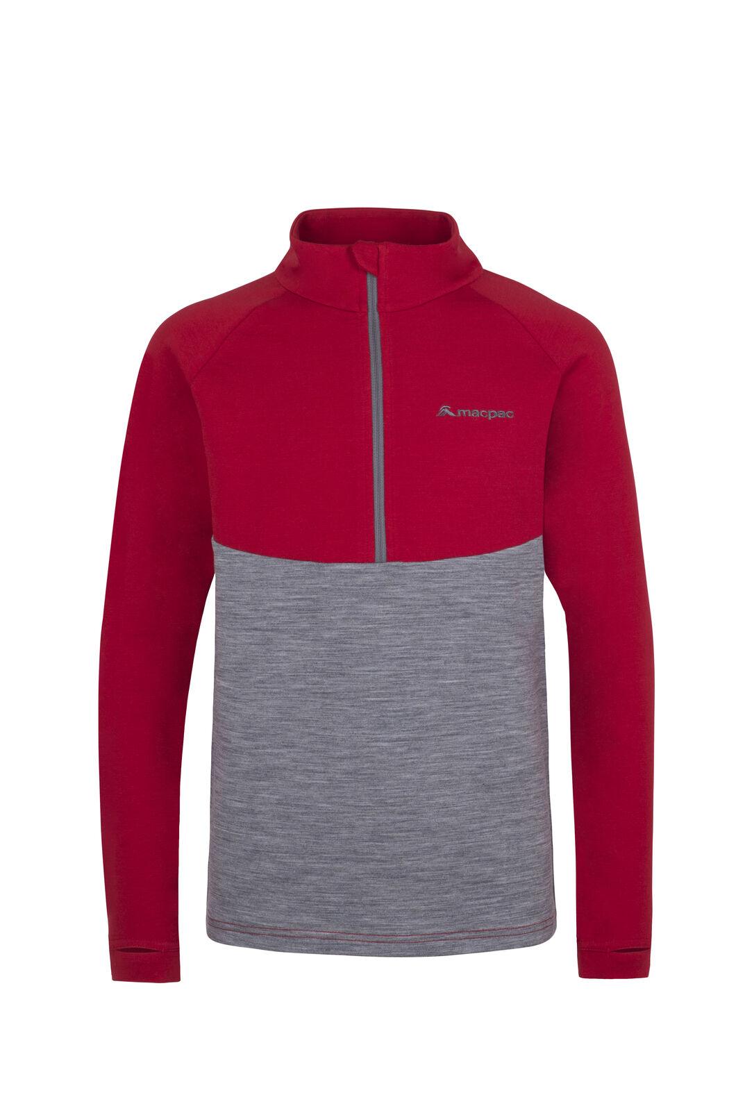 Macpac Merino 280 Pullover - Kids', Haute Red, hi-res