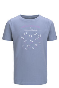 Macpac Footprint Fairtrade Organic Cotton Tee — Kids', Dusty Blue, hi-res