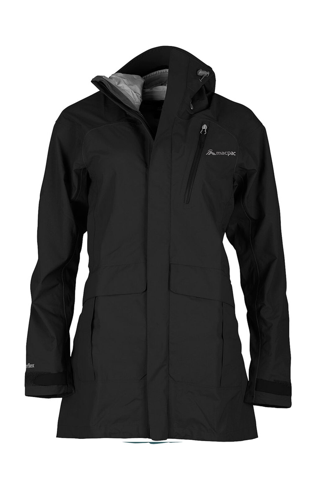 Macpac Copland Long Rain Jacket — Women's, Black, hi-res