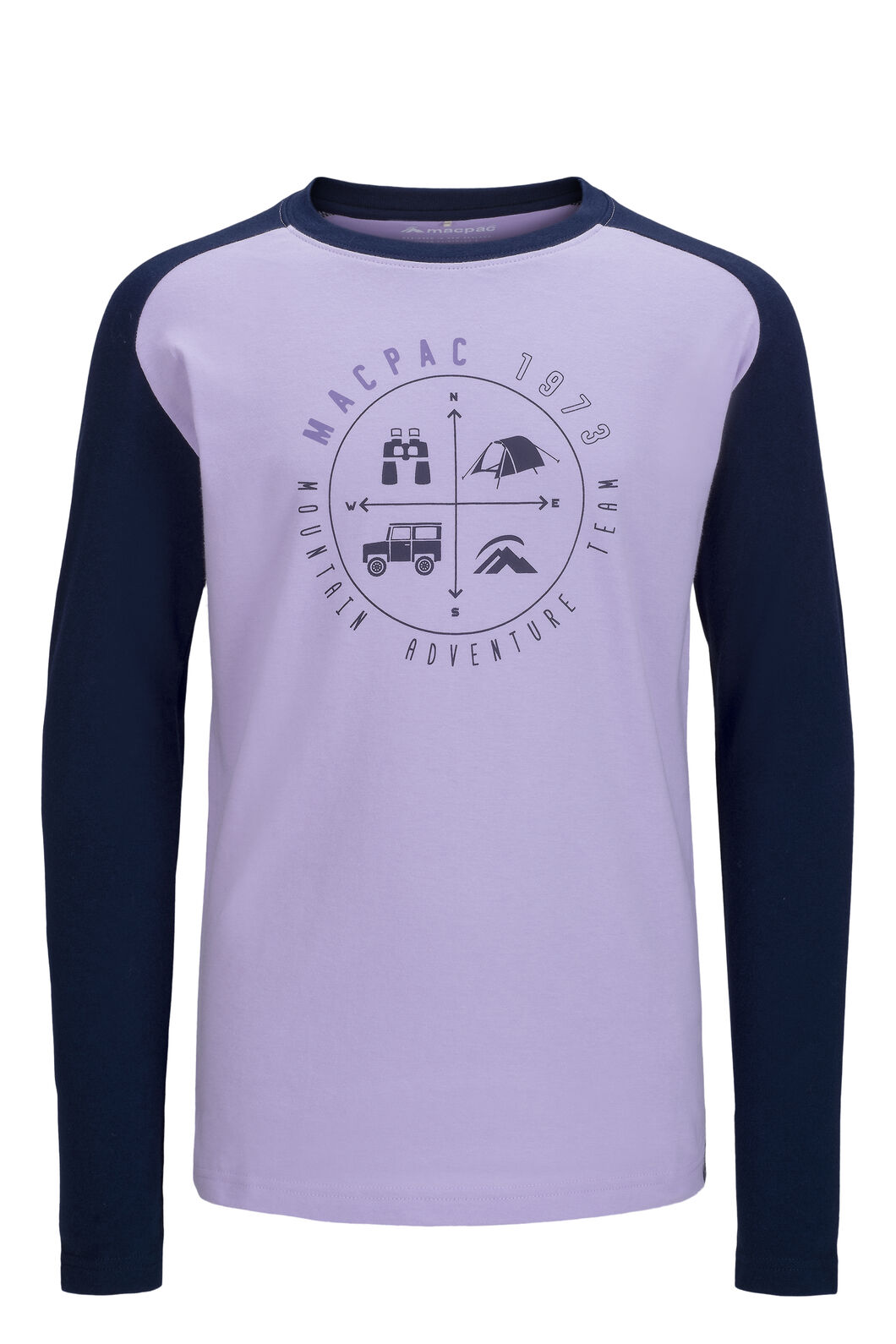 Macpac Kids' Compass Fairtrade Organic Cotton Long Sleeve Tee, Lavender/Black Iris, hi-res