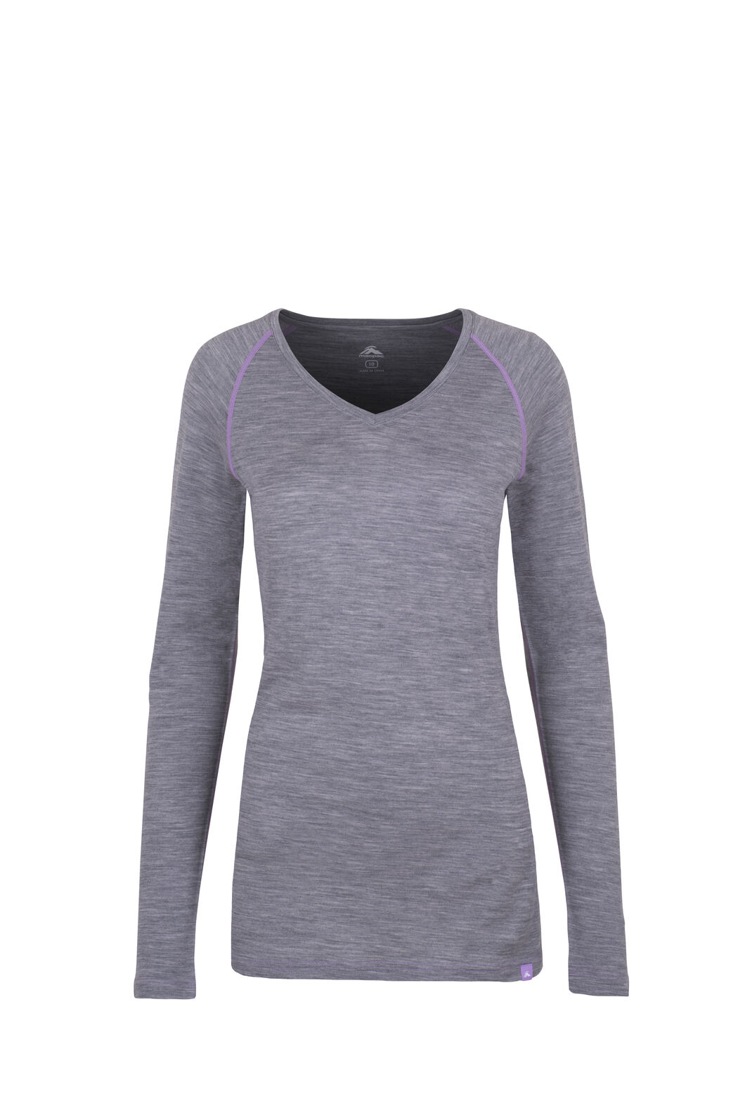 Macpac 150 Merino V-Neck Top — Women's, Grey Marle/Lavender, hi-res