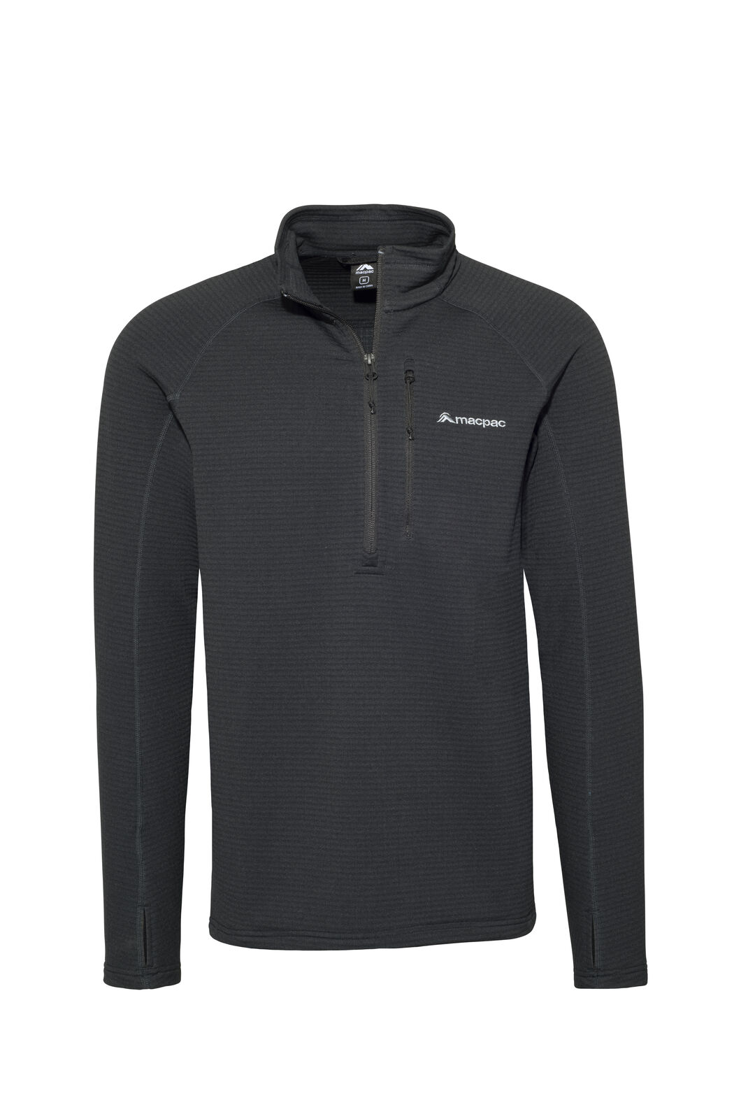 Macpac Men's Ion Polartec® Fleece Half Zip Pullover, Black, hi-res