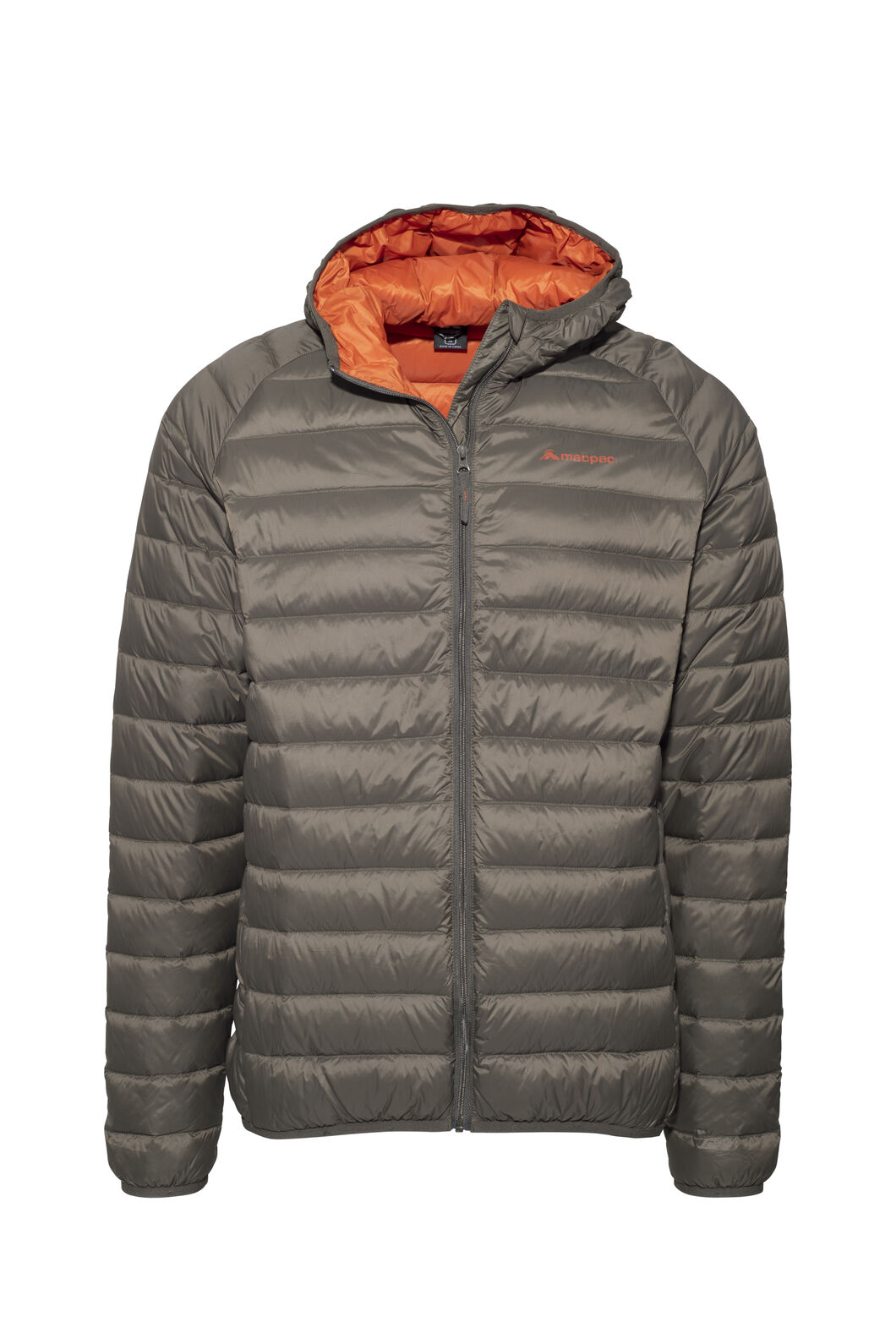 Macpac Uber Hooded Down Jacket - Men's, Black Olive/Rooibos Tea, hi-res