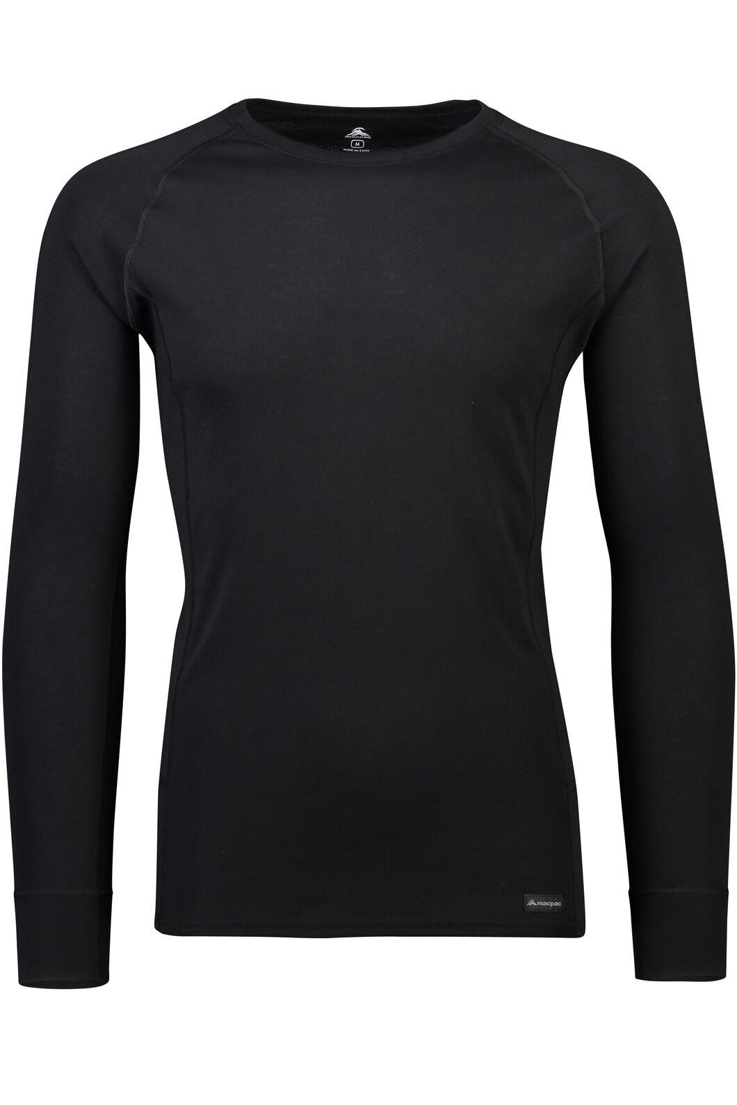 Macpac Geothermal Long Sleeve Top — Men's, Black, hi-res