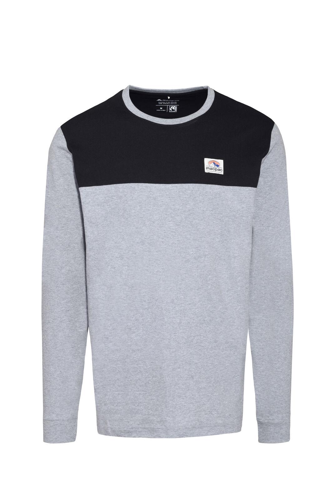 Macpac Panel Fairtrade Organic Cotton Long Sleeve Tee — Men's, Grey Marle, hi-res