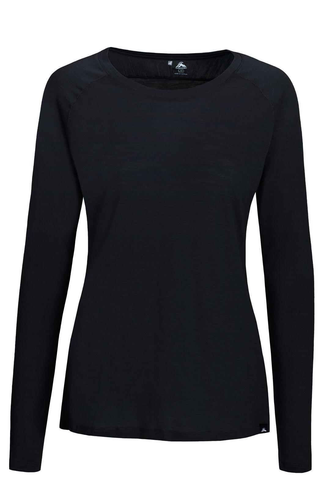 Macpac Women's Meadow 145 Merino Blend Long Sleeve Tee, Black, hi-res