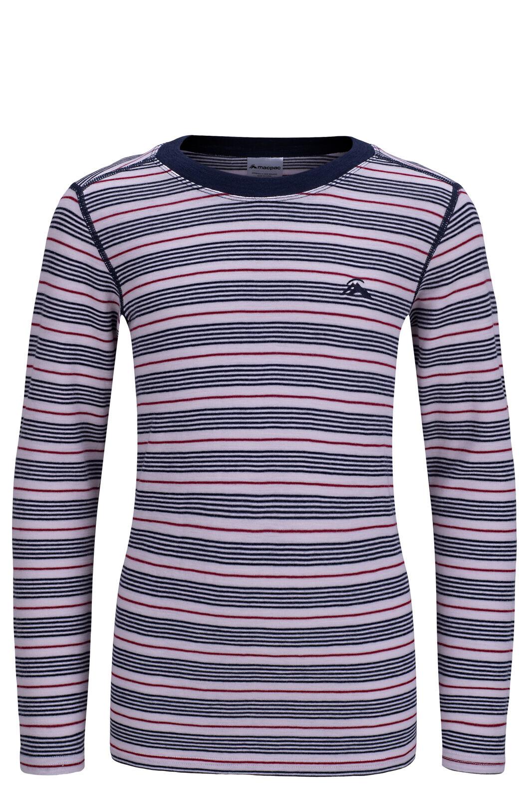 Macpac 220 Merino Long Sleeve Top — Kids', Cradle Pink Stripe, hi-res