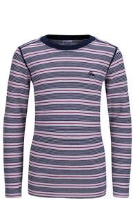 Macpac Kids' 220 Merino Long Sleeve Top, Cradle Pink Stripe, hi-res