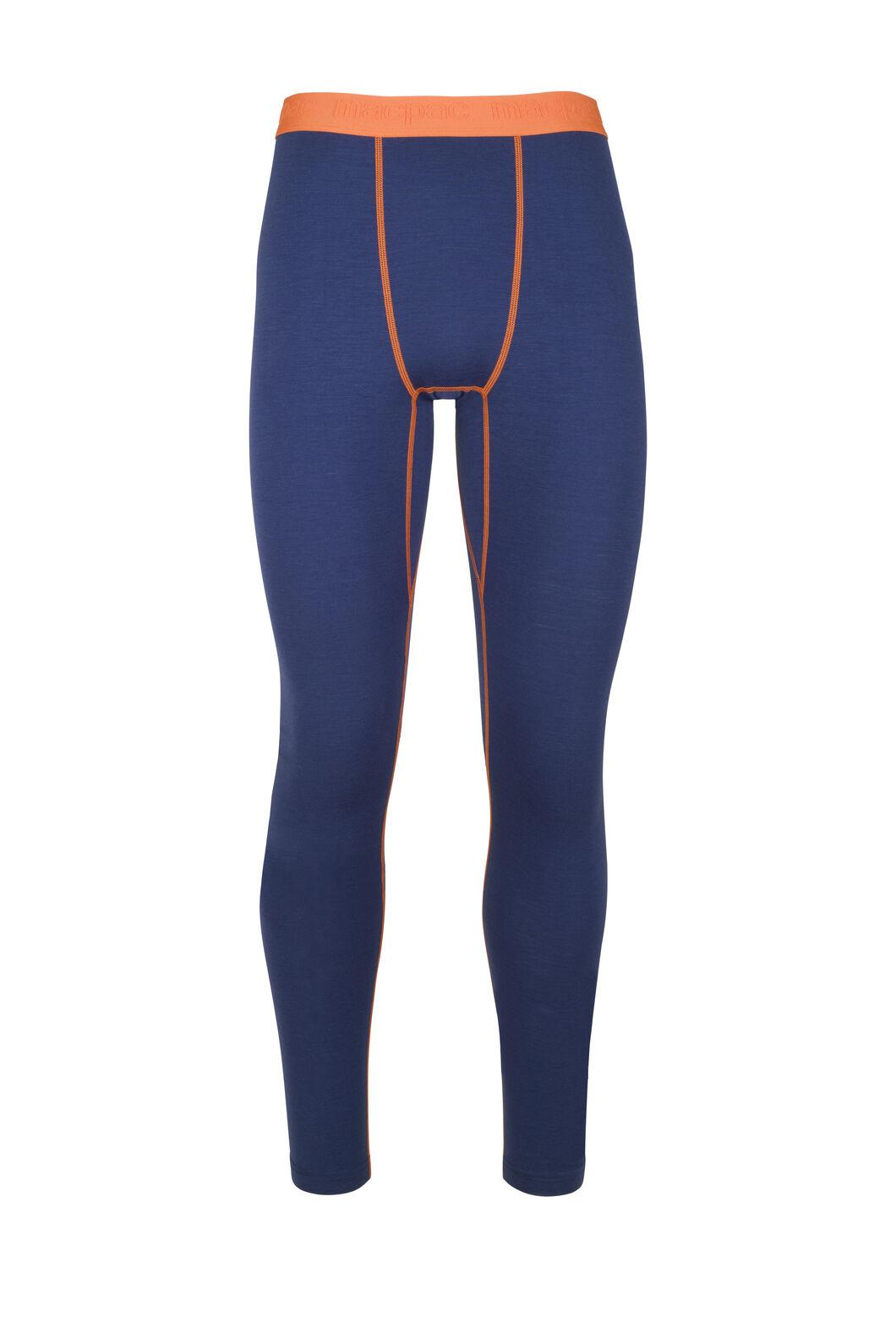 Macpac 180 Merino Long Johns — Men's, Blue Depths/Burnt Orange, hi-res