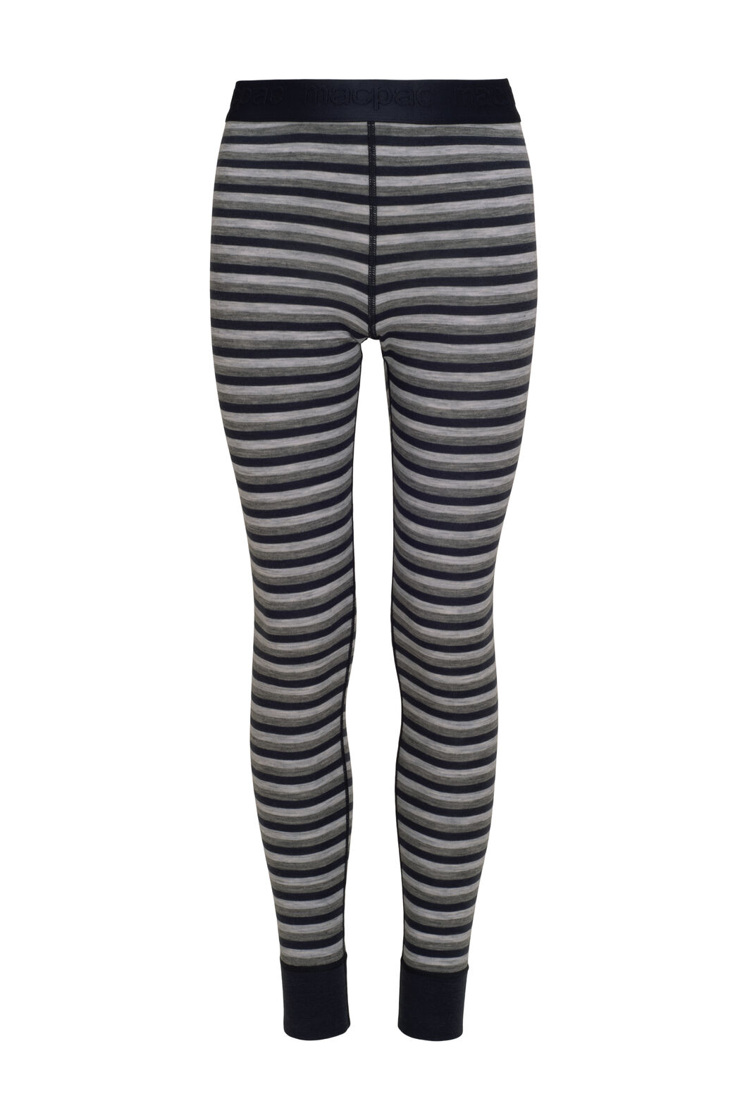 Macpac 220 Merino Long Johns — Kids', Grey/Navy Stripe, hi-res