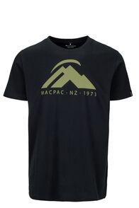 Macpac Mountain Fairtrade Organic Cotton Tee — Men's, Black/Boa, hi-res