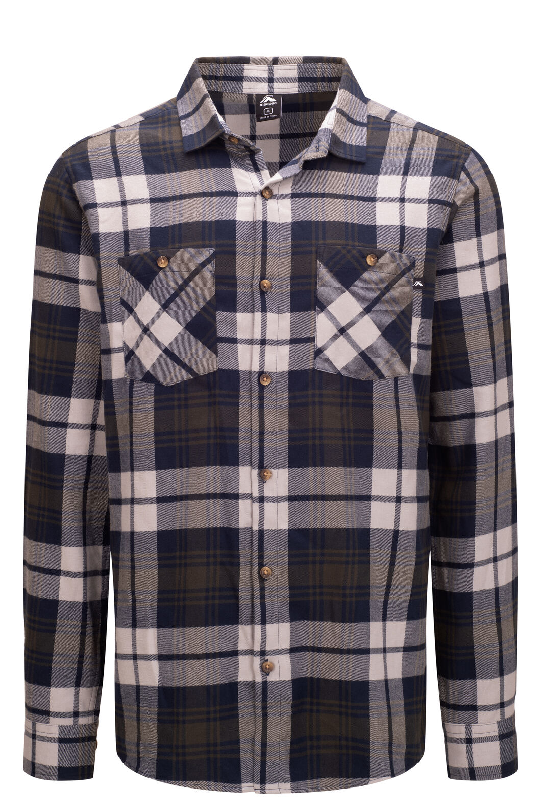 Macpac Porters Organic Cotton Flannel Shirt — Men's, Moonbeam/Peat, hi-res