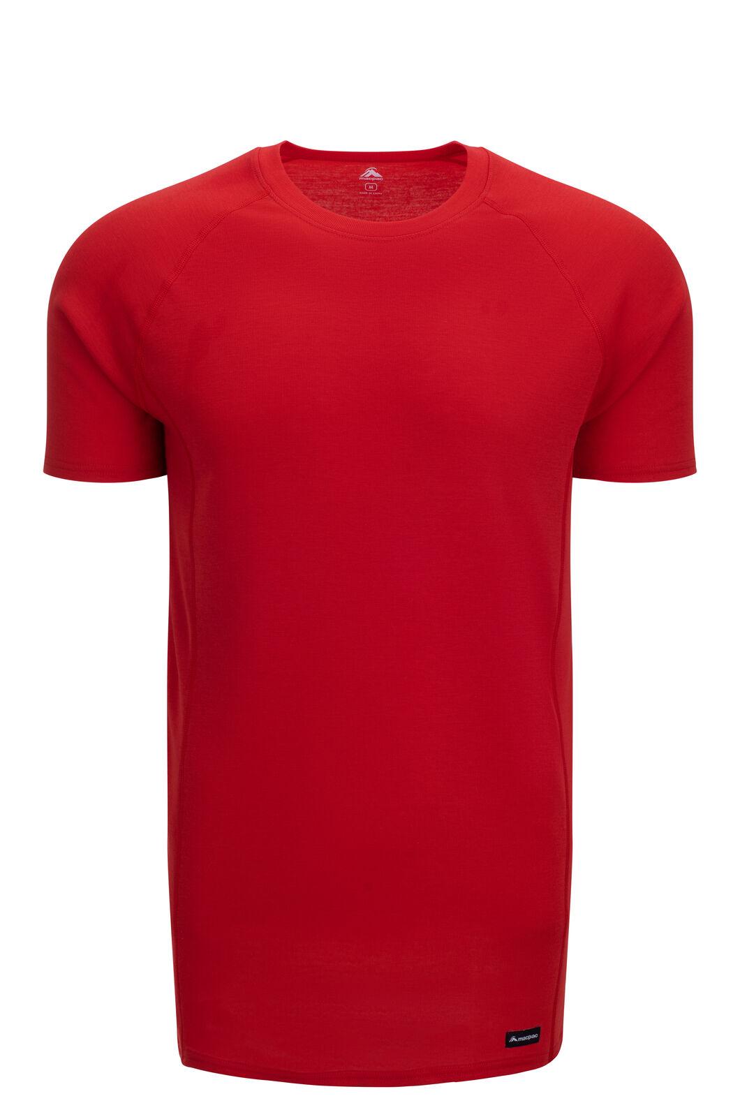 Macpac Men's Geothermal Short Sleeve Tee, Aurora Red, hi-res