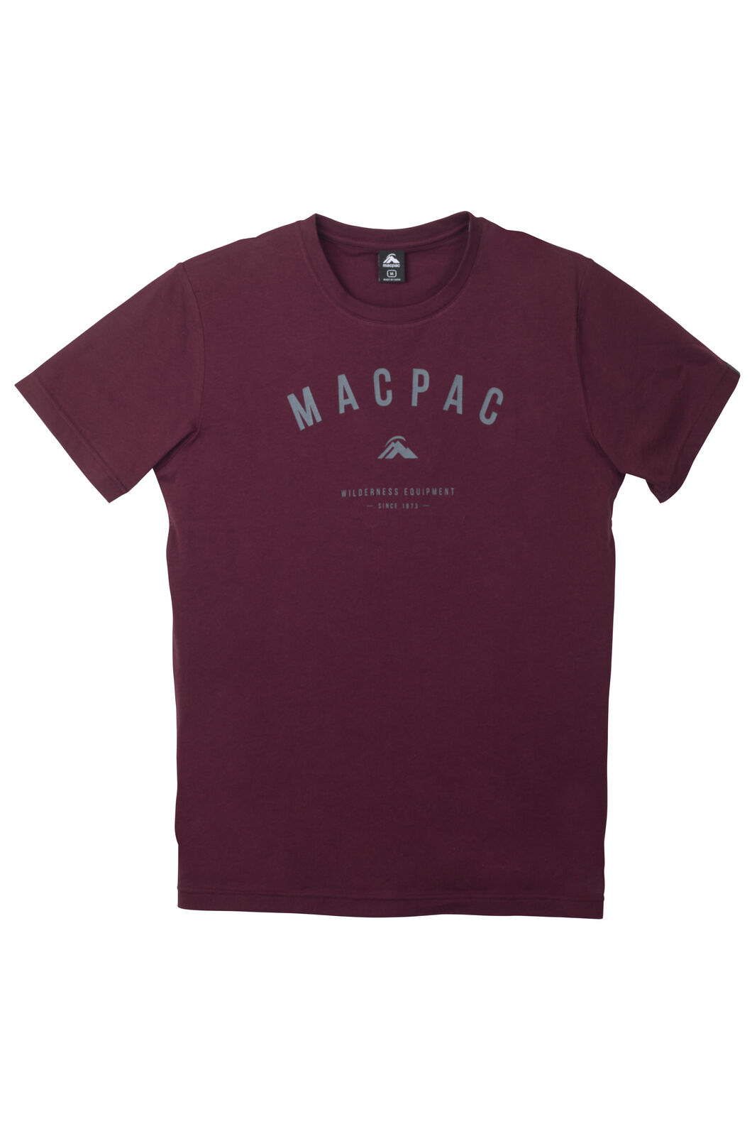 Macpac Graphic Organic Cotton T-Shirt - Men's, Maroon Melange, hi-res