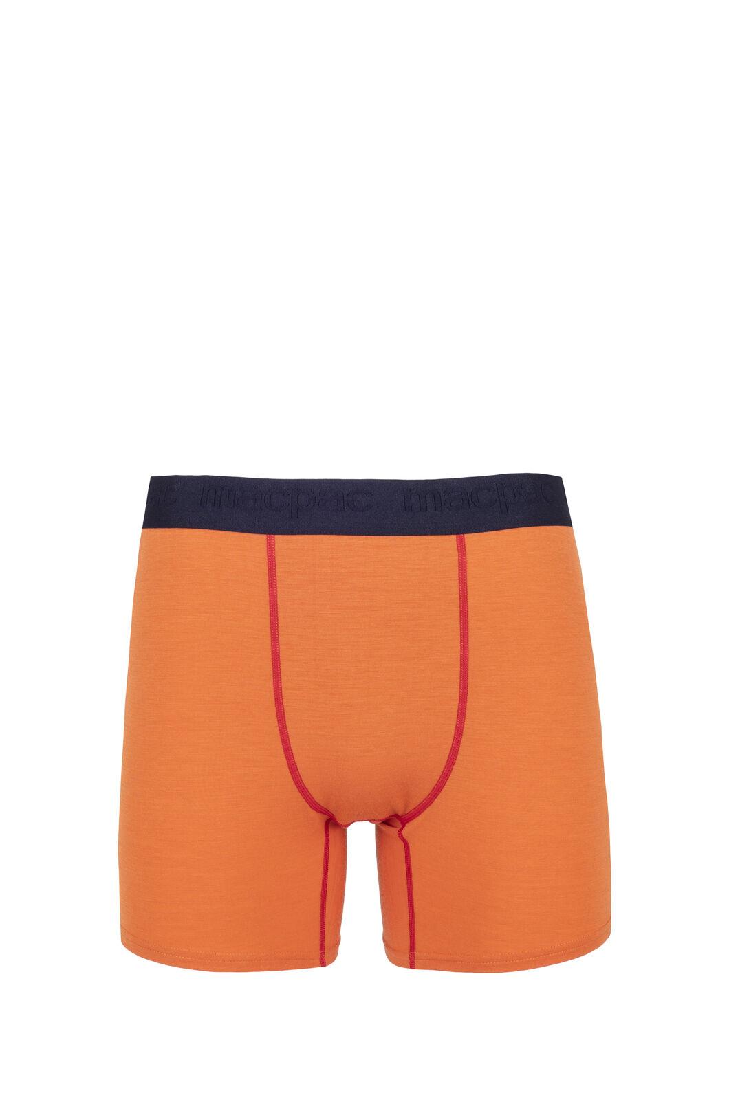 Macpac 180 Merino Boxers - Men's, Burnt Orange/Haute Red, hi-res